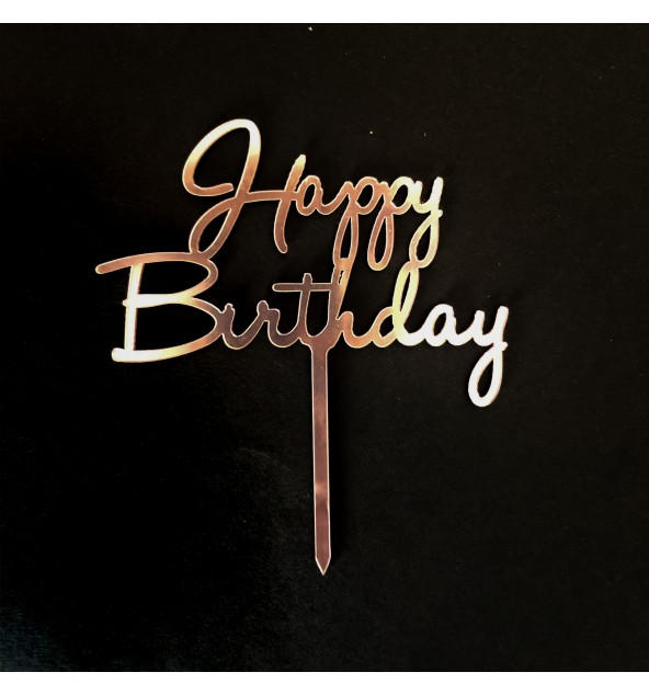 Metallic Pink Happy Birthday Topper