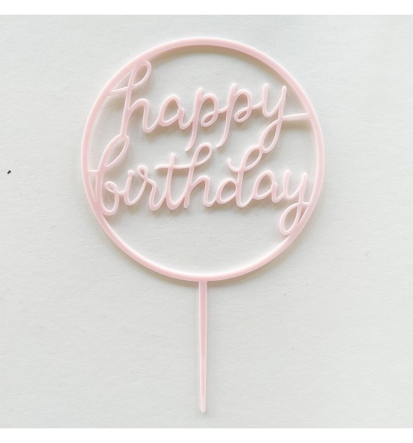 Light Pink Happy Birthday Topper (Round)