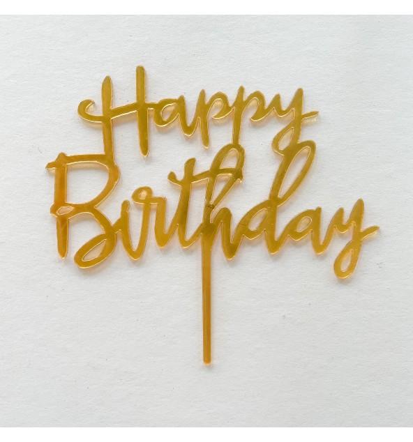 Gold Happy Birthday Topper